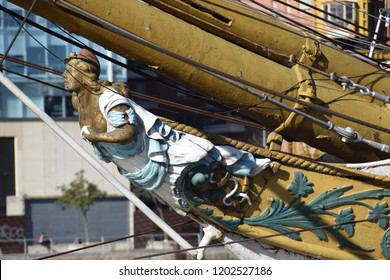 Buenos Aires, Argentina - July 24, 2018: Figurehead of the Sarmiento war sailing ship
