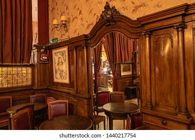 Buenos Aires, Argentina - July 28, 2019: The interior of one of the oldest cafes in ArgentinaCafe Tortoni famous bar in Avenida de Mayo in Buenos Aires, Argentina