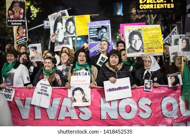 Buenos Aires, Argentina - June 03 2016: Feminist demostration on the streets of Buenos Aires. It's the beginning of the movement not one less.