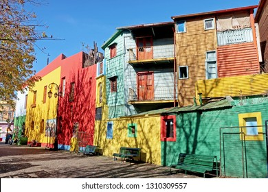 BUENOS AIRES, ARGENTINA, JUNE 18, 2018: Traditional colorful houses on Caminito street in La Boca neighborhood, Buenos Aires, Argentina, South America on June 18, 2018