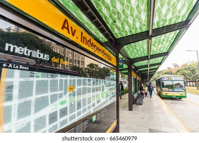 Buenos Aires, Argentina - June 22, 2017: Newly built bus rapid transit line (BRT) called Metrobus del Bajo in the neighborhood of Retiro