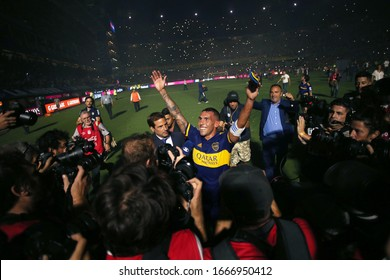 Buenos Aires, Argentina - March 07, 2020: Carlos Tevez celebrating winning the tournament of the superliga 2020 in the bombonera in Buenos Aires, Argentina