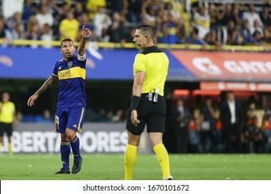 Buenos Aires, Argentina - March 07, 2020: Carlos Tevez pointing out to the corner side of the field in the match Boca Juniors vs Independiente de Medellin in the bombonera in Buenos Aires, Argentina