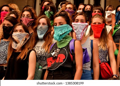 Buenos Aires, Argentina.  March, 08, 2018. Feminist movilization on International Women's Day