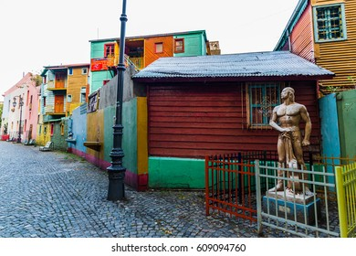 BUENOS AIRES, ARGENTINA - March 16, 2016: Traditional colorful houses on Caminito street in La Boca neighborhood, Buenos Aires