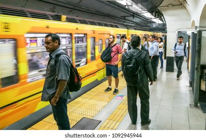 Buenos Aires, Argentina - March 19th: Passengers waiting on the platform of the Metrovias subway Line B at Pueyrredon station in Buenos Aires.