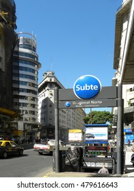 BUENOS AIRES, ARGENTINA - MARCH 2010: The station Diagonal Norte on Line C of the Buenos Aires Underground.