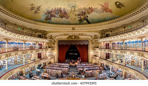 Buenos Aires, Argentina - March 2016. The famous bookshop El Ateneo Grand Splendid. It's situated at 1860 Santa Fe Avenue. In 2008 it was placed as the second most beautiful bookshop in the world