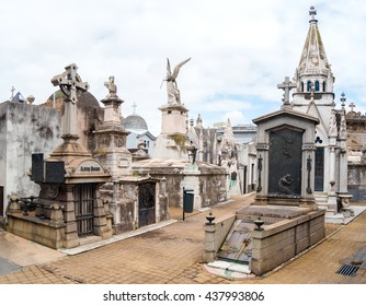 Buenos Aires, Argentina - March 2016. La Recoleta Cemetery is located in the Recoleta neighbourhood of Buenos Aires, Argentina. It contains the graves of notable people