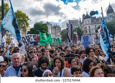 Buenos Aires, Argentina, March 24th 2019. Crowd gathered in the Plaza de Mayo to commemorate the 43rd anniversary of the coup d'état and the beginning of the last military dictatorship