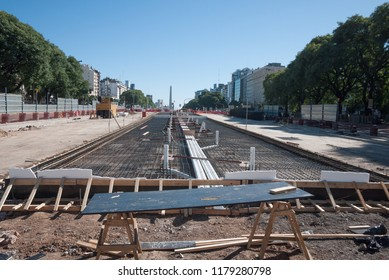 Buenos Aires, Argentina - March 29 2013: Construction of a new avenue and a metrobus system in Buenos Aires city