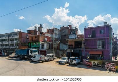 Buenos Aires, Argentina - March 7, 2019: Villa 31 (also called Barrio 31) shantytown slum