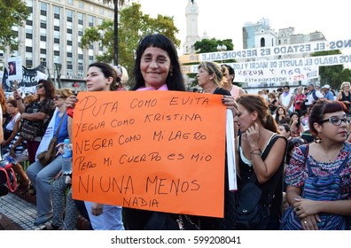 Buenos Aires, Argentina - March 8, 2017: Woman holding a sign during a protest conmemorating the International Women's Day on March 8, 2017 in Buenos Aires, Argentina.