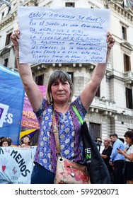 Buenos Aires, Argentina - March 8, 2017: Woman holds a sign during a protest conmemorating the International Women's Day on March 8, 2017 in Buenos Aires, Argentina.