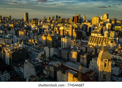 BUENOS AIRES, ARGENTINA - May 10, 2017: Night panorama of Buenos Aires skyline, taken from the lighthouse at the top of the Palacio Barolo in the city centre