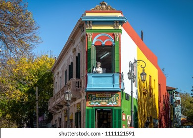 Buenos Aires, Argentina - May 12, 2018: Colorful Caminito in La Boca neighborhood - Buenos Aires, Argentina