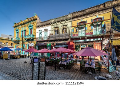 Buenos Aires, Argentina - May 12, 2018: Restaurants in colorful neighborhood La Boca - Buenos Aires, Argentina