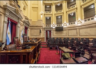 Buenos Aires, Argentina - May 14, 2018: Argentinian Senate at National Congress of Argentina - Buenos Aires, Argentina