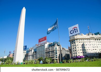 BUENOS AIRES, ARGENTINA - MAY 14, 2008: The Obelisco de Buenos Aires (Obelisk of Buenos Aires) is a national historic monument and icon of Buenos Aires, located in the Plaza de la Republica.