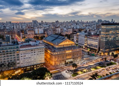Buenos Aires, Argentina - May 15, 2018: Aerial view of Teatro Colon (Columbus Theatre) and 9 de Julio Avenue at sunset - Buenos Aires, Argentina