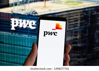 Buenos Aires, Argentina; May 15, 2019: PWC logo on phone - image