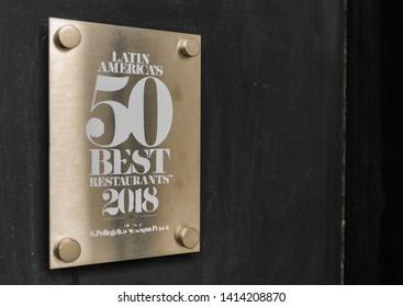 Buenos Aires, Argentina - May 26, 2019: Sign of Saint Pellegrino top 50 best restaurants