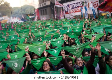 Buenos Aires, Argentina; May, 28, 2019. Manifestation of the feminist movement in support of the presentation of the law for legal abortion, safe and free, in the chamber of deputies of the nation.