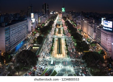 Buenos Aires, Argentina - May 4 2015: Rush hour and traffic on the sreets of Buenos Aires city. This photo shows the 9 de Julio Avenue.