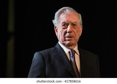 Buenos Aires, Argentina - May 6, 2016: Nobel Laureate in Literature Mario Vargas Llosa during the presentation of his book Cinco esquinas as part of Buenos Aires International Book Fair.