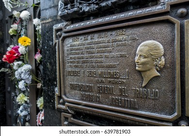Buenos Aires, Argentina - May 7, 2017: View of the tomb of Eva Peron at the La Recoleta Cemetery in Buenos Aires.