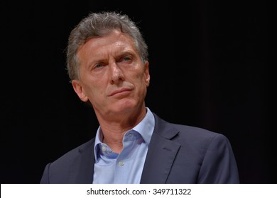 BUENOS AIRES, ARGENTINA - NOV 10, 2015: Mauricio Macri, presidential candidate for Cambiemos during a press conference with foreign media at Buenos Aires Government House.