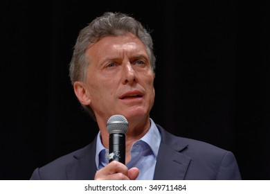 BUENOS AIRES, ARGENTINA - NOV 10, 2015: Mauricio Macri, presidential candidate for Cambiemos speaks during a press conference with foreign media at Buenos Aires Government House.