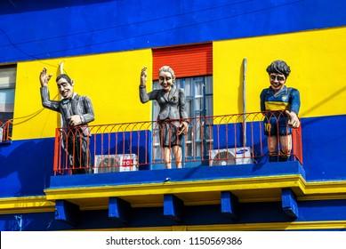 BUENOS AIRES, ARGENTINA - NOV 17, 2006 : in the Caminito, puppets represent the three Argentine myths: Carlos Gardel, Evita Peron and Maradona, Buenos Aires November 17, 2006