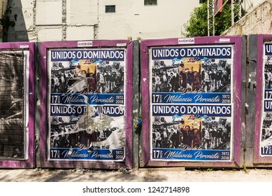 Buenos Aires, Argentina - November 18, 2018: Street posters in commemoration the founding anniversary of the Justicialist Party, Peronism