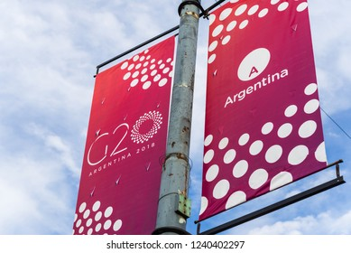 Buenos Aires, Argentina - November 25, 2018: Sign of G20 summit in Buenos Aires, the host of 2018 Group of Twenty meeting