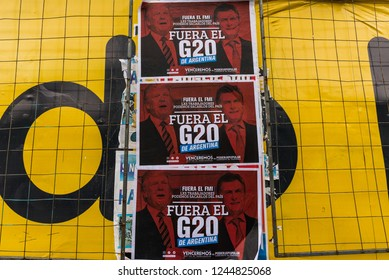 Buenos Aires, Argentina - November 29, 2018: Political posters at the protests of anarchists and left-wing socialist opposition against G20 and IMF loan