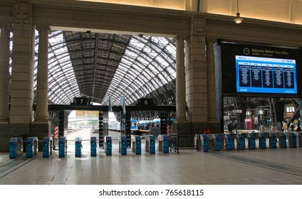 BUENOS AIRES, ARGENTINA - NOVEMBER 29, 2017:  General view of Retiro train station in Buenos Aires, City. Retiro station conects Buenos Aires capital with north area of the city