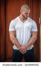 Buenos Aires, Argentina - November 4th 2019: Young muscled male model in urban shoot.