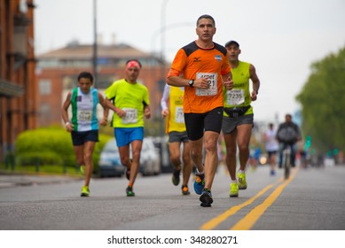 Buenos Aires, Argentina - Oct 11, 2015:  Participants during the Marathon 42K Buenos Aires on Oct 11, 2015 in the capital of Argentina.