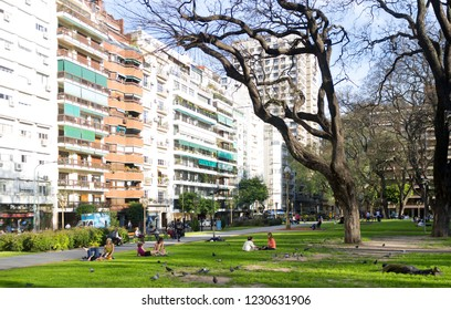 BUENOS AIRES, ARGENTINA- OCTOBER, 06, 2013:Plaza Vicente Lopez Buenos Aires Argentina. Place of public entertainment with trees and gardens amidst