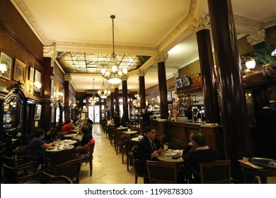Buenos Aires, Argentina - October 10, 2018: Cafe Tortoni famous bar in Avenida de Mayo in Buenos Aires, Argentina