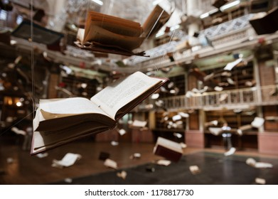 Buenos Aires, Argentina - October 13 2012: Exhibition of antique books in the National Lotery building in Buenos Aires city.