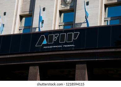 Buenos Aires, Argentina. October 14, 2018. Federal Administration of Public Income sign (Administracion Federal de Ingresos Publicos) usually shortened as AFIP is the revenue service of Argentina