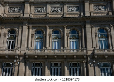 Buenos Aires, Argentina. October 14, 2018. The Colombus Theater Facade from Lavalle Square (Teatro Colon) is the main opera house, considered one of the ten best in the world