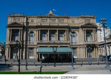 Buenos Aires, Argentina. October 14, 2018. The Colombus Theater from Lavalle Square(Teatro Colon) is the main opera house, considered one of the ten best in the world