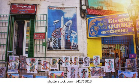 BUENOS AIRES, ARGENTINA - OCTOBER 15: Famous landmarkl El Caminito District where authentic artisan work is sold on 15 of October in Barcelona, 2016.
