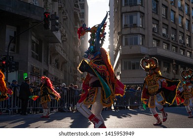 Buenos Aires, Argentina. October 20, 2018. Thousands of dancers and musicians from the Bolivian community take part in the Integration Parade, coinciding with the Virgin of Copacabana Celebration.