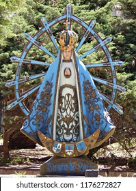 Buenos Aires, Argentina / October 22 2017: Virgin of Lujan statue in the courtyard of the Buenos Aires Metropolitan Cathedral
