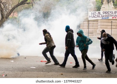 Buenos Aires, Argentina; october, 24, 2018.  Police brutality during the demonstration against the anual budget for 2019 voted in the chamber of deputies