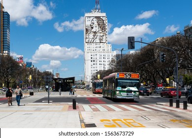 Buenos Aires, Argentina - October 3, 2013: View of the 9 of July Avenue (Avenida 9 de Julio) in the city of Buenos Aires, Argentina.